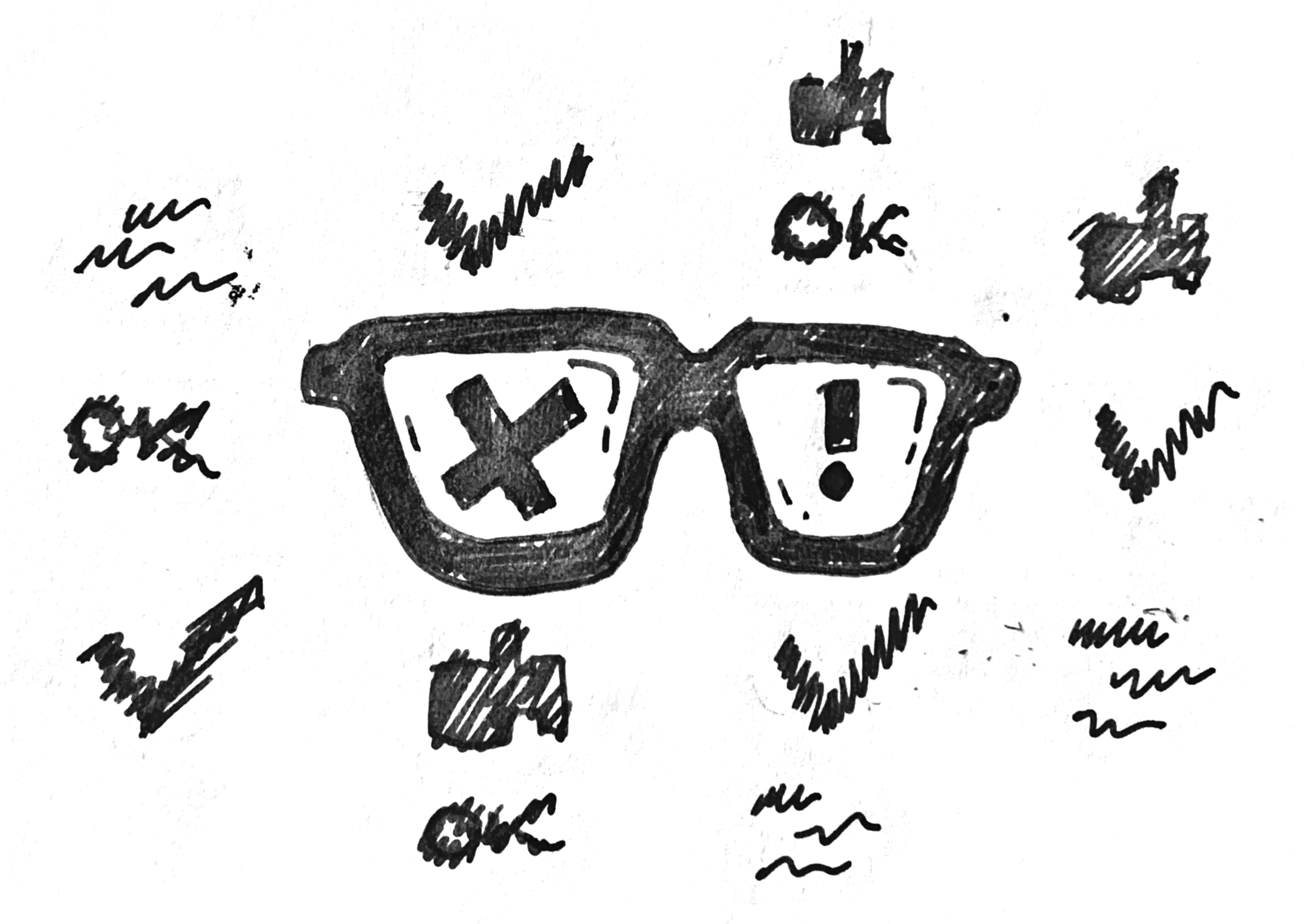 Illustration of glasses that allow to see things clearly and as they are, and not blurred and presented in good light.