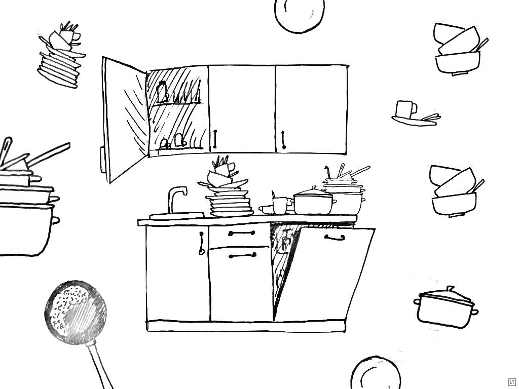 Obrazek przedstawia kuchnię z mnóstwem naczyń do umycia poukładanych w stosy