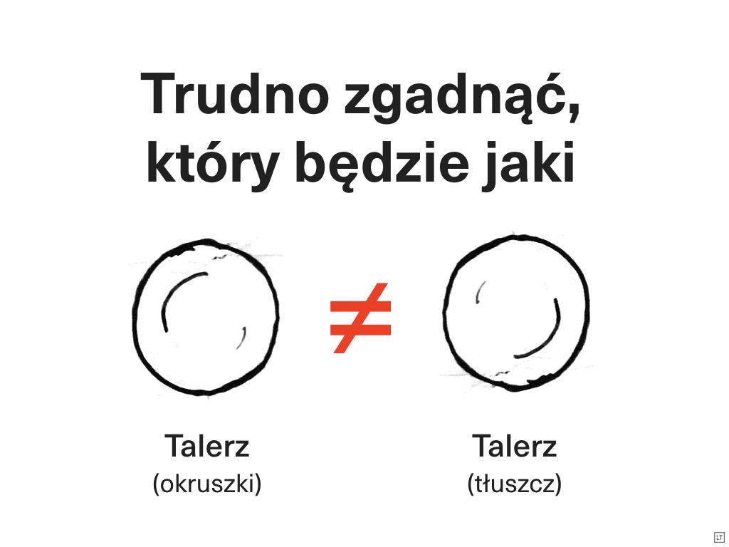 Hasło trudno zgadnąć, który będzie jaki oraz rusunek dwóch identycznych talerzy ze znakiem nierówności między nimi oraz podpisami: talerz (okruszki) pod jednym talerzem i talerz (tłuszcz) pod drugim