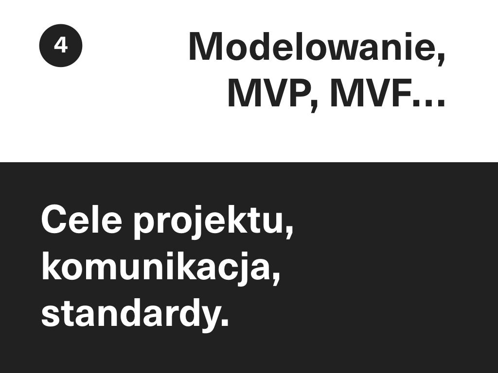 Na dole slajdu: Cele projektu, komunikacja, standardy. Na górze slajdu: Modelowanie, MVP, MVF…